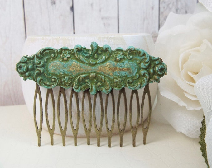 Mint Green Verdigris Ornate Rustic Country Bridal Hair Comb - Merrow - Split Personality Designs