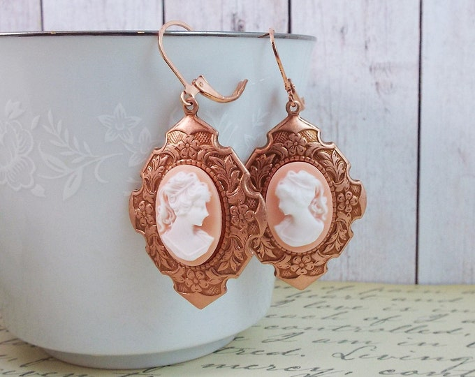 Rose Gold Blush Pink Victorian Lady Cameo Earrings