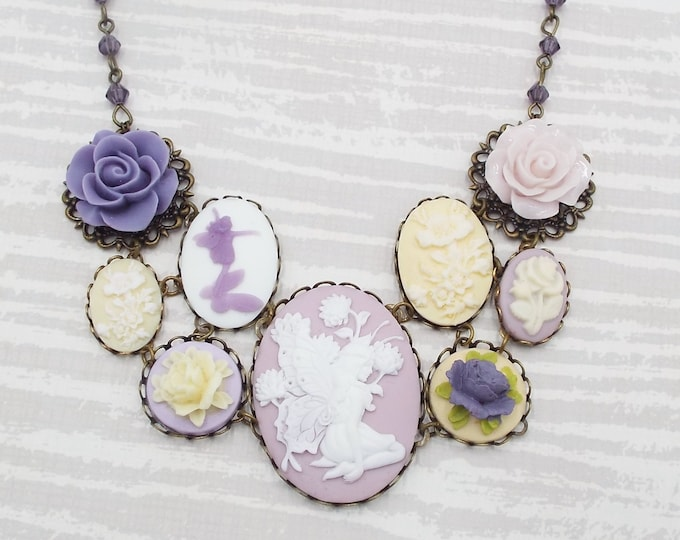 Lavender Purple Berry Rose Flower Cameo Necklace