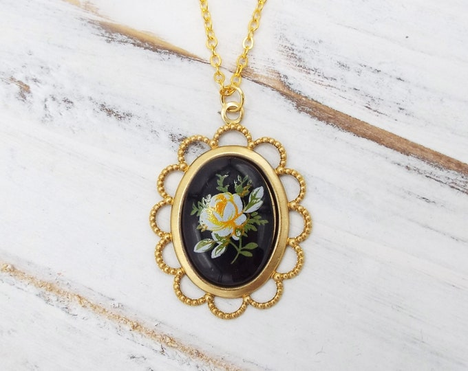 Yellow Rose on Black Gold Cameo Necklace Small Pendant