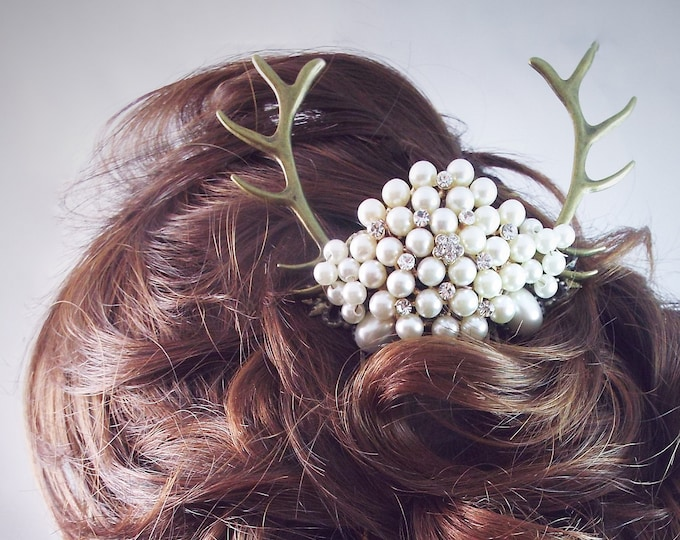 Pearl Deer Antler Bridal Comb Fascinator - Artemis - Woodland Wedding Bride Pearls Goddess Crown
