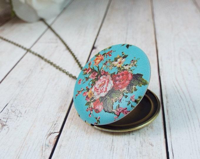 Modern Vintage Turquoise & Pink Rose Floral Keepsake Locket Pendant - Split Personality Designs