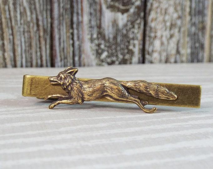 Antiqued Bronze Fox Wolf Tie Bar Clip - Men's Accessories by Split Personality