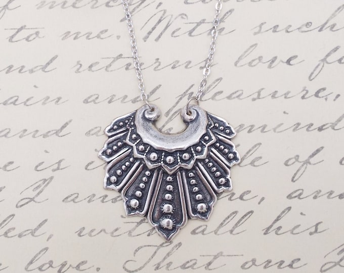Ruth Bader Ginsburg Silver Statement Collar Necklace - Dissent