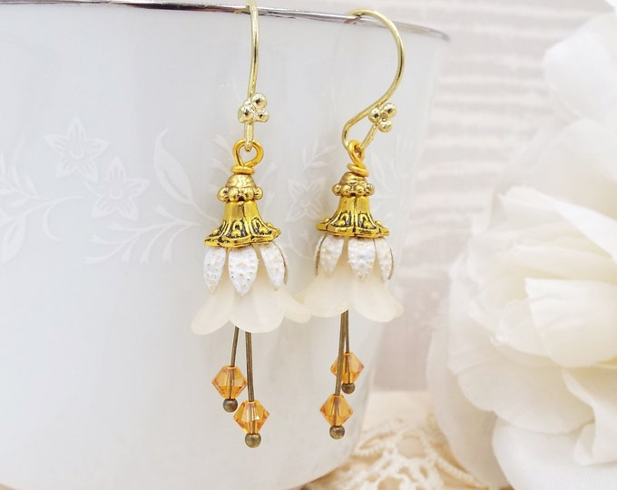 Warm Ivory Antique Gold Bridal Floral Earrings - Hand Enameled
