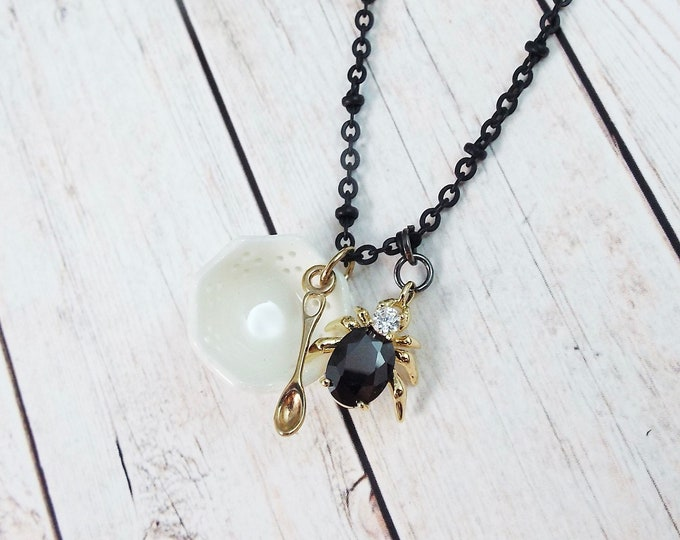 Little Miss Muffet Black Charm Necklace - Crystal Spider Necklace, Nursery Rhymes - Modern Gothic Goth by SPDJewelry
