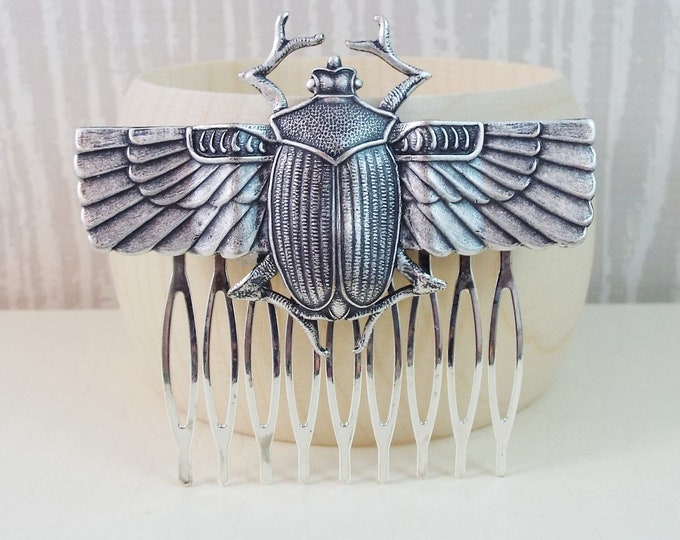 Egyptian Scarab Beetle Silver Hair Comb - Isis