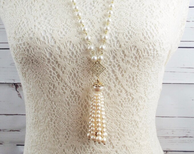Modern Bridal Pearls Victorian Necklace Antique Ivory Tassel - Art Deco Flapper Wedding Necklace