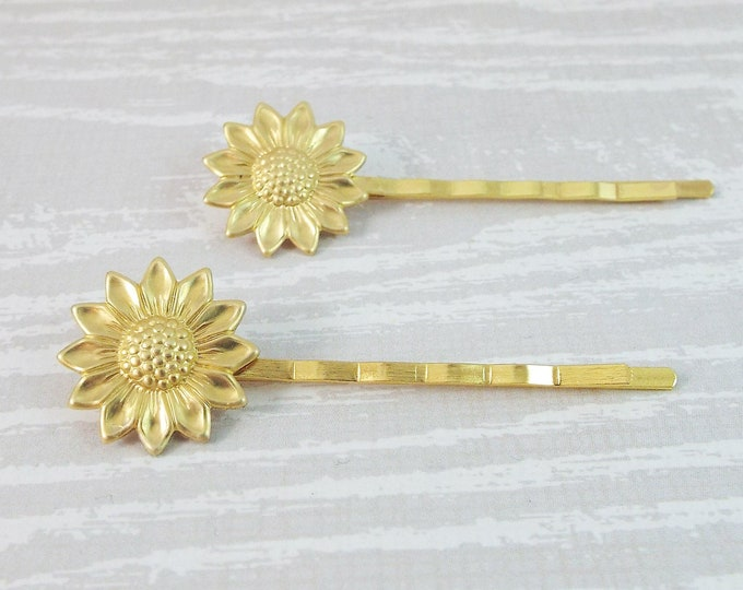 Raw Brass Sun Flower Sunflower Bobby Pins