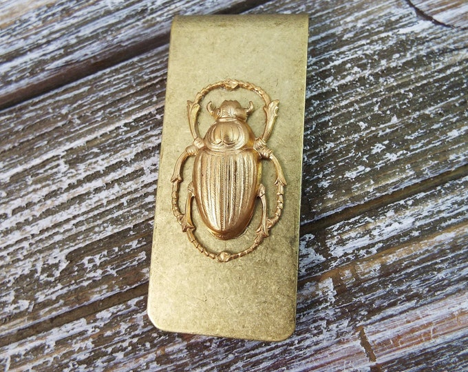 Egyptian Scarab Bronze Brass Money Clip Wallet - Men's Accessories by Split Personality