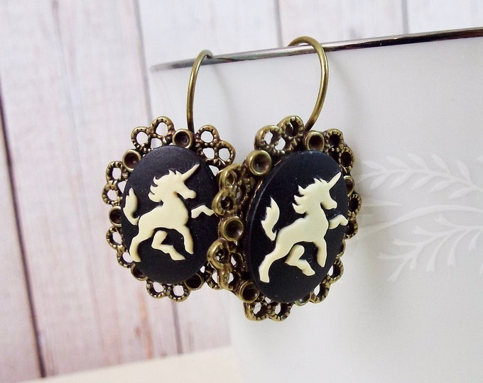 Black Victorian Unicorn Cameo Bronze Earrings - Rustic Antiquity Jewelry by SPDJewelry