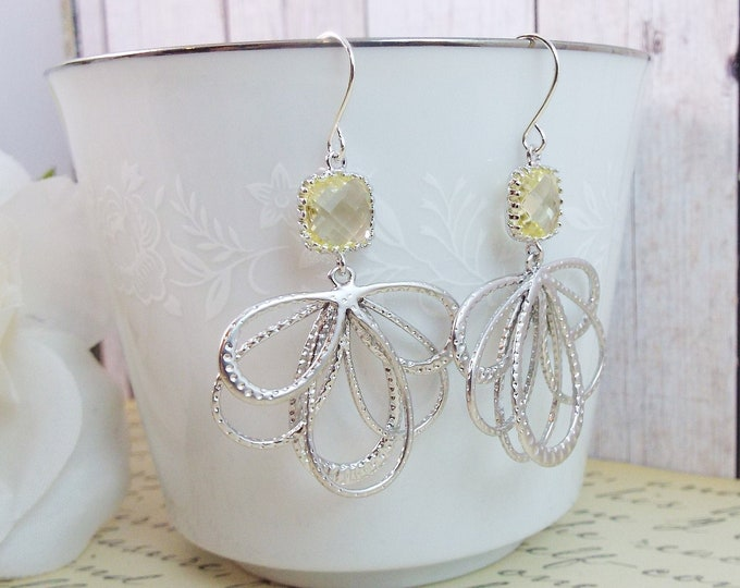 Modern Pale Yellow Silver Statement Bridal Earrings
