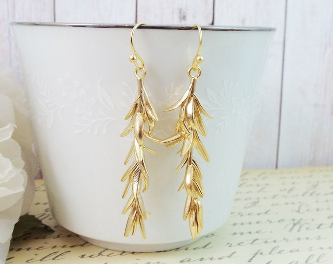 Yellow Gold Olive Branch Long Earrings - Modern Bridesmaid Gifts, Garden Wedding, Bridal Earrings Gift for Wife Mom Girlfriend