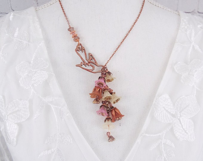 Dusty Rose Bird Taupe Ivory Flower Lariat Rose Gold Necklace