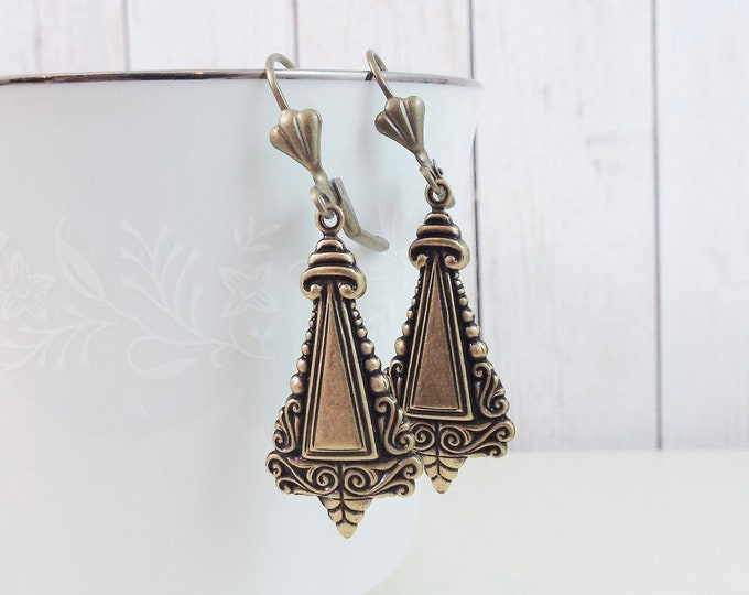 Neo-Victorian Ornate Bronze Dangle Earrings - Triangle Pendulum Earrings - Gift for Wife Mom Sister Girlfriend