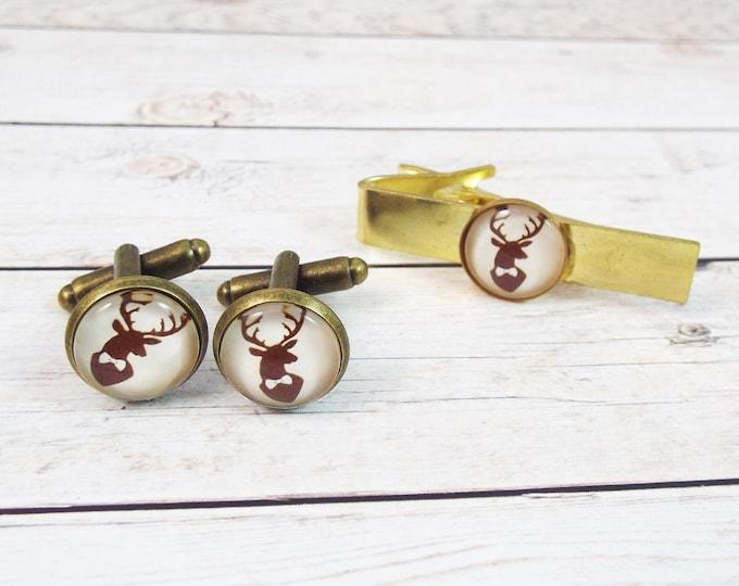 Country Wedding Woodland Deer Antler Groomsman Cuff Links - Stag Party - Burgundy and Bronze Rustic Groomsmen Tie Bar Set
