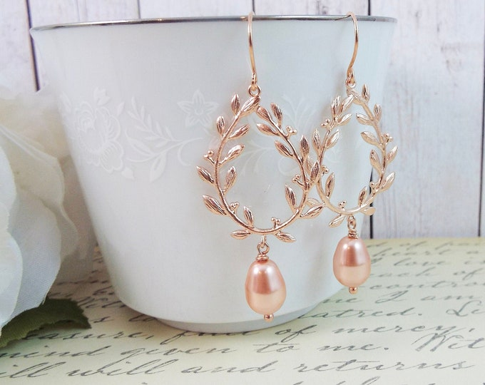 Peach & Blush Wedding, Rose Gold Laurel Wreath Earrings
