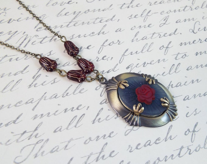 Art Nouveau Victorian Boudoir, Frosted Blue Glass Cameo Red Rose Pendant Necklace