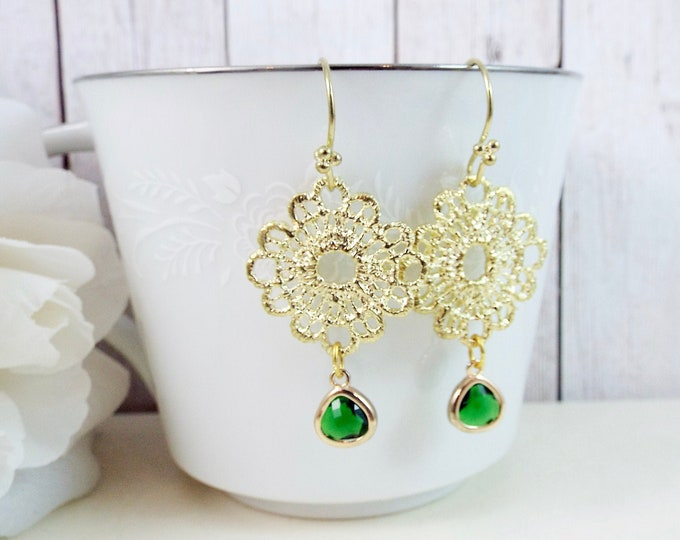 Gold Lace Earrings - Emerald Green Drops Dangle Mother of the Bride Groom - Split Personality Designs