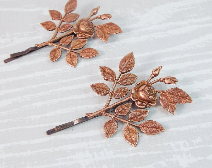 Rose Gold Roses Branch Hair Bridal Bobby Pin Set