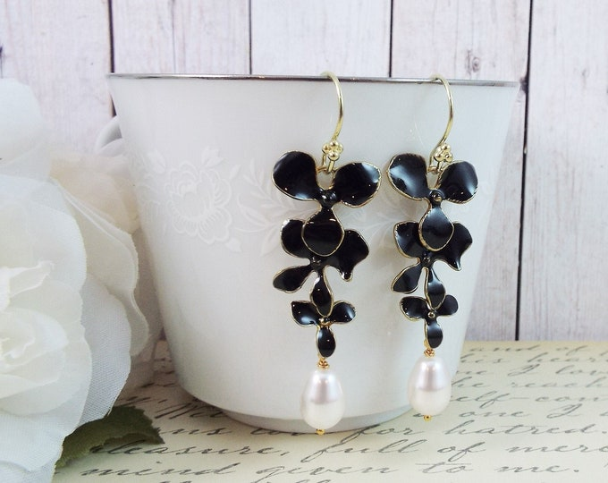 Black and White Orchid Flower Pearl Bridal Earrings