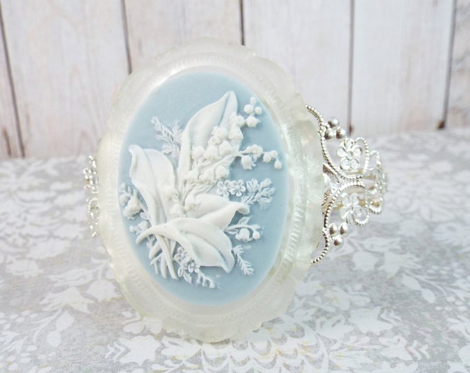Lily of the Valley Silver White Cameo Filigree Bracelet - Something Blue - Flower Floral Jewelry Cuff - Modern Victorian by SPDJewelry