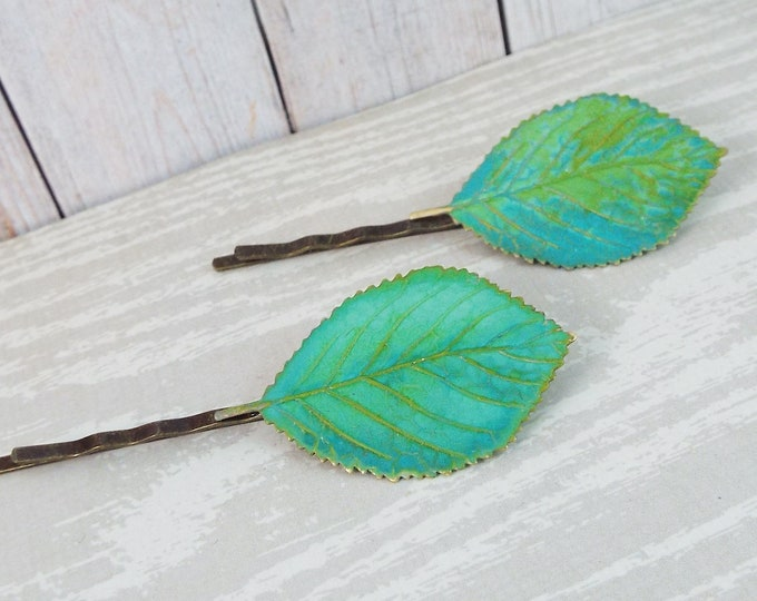 Verdigris Green Brass Birch Leaf Hair Bobby Pin Set