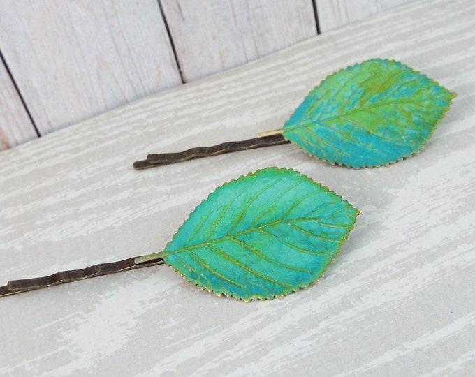 Verdigris Green Brass Birch Leaf Hair Bobby Pin Set