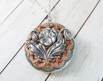 Rose Gold Art Nouveau Locket Large Round Silver Picture Pendant Layering Necklace Vintage Patina Filigree - Pansy Flower - SPDJewelry
