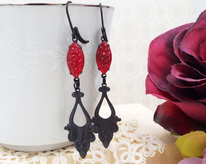Victorian Red Blood Drop Lolita Black Dangle Earrings