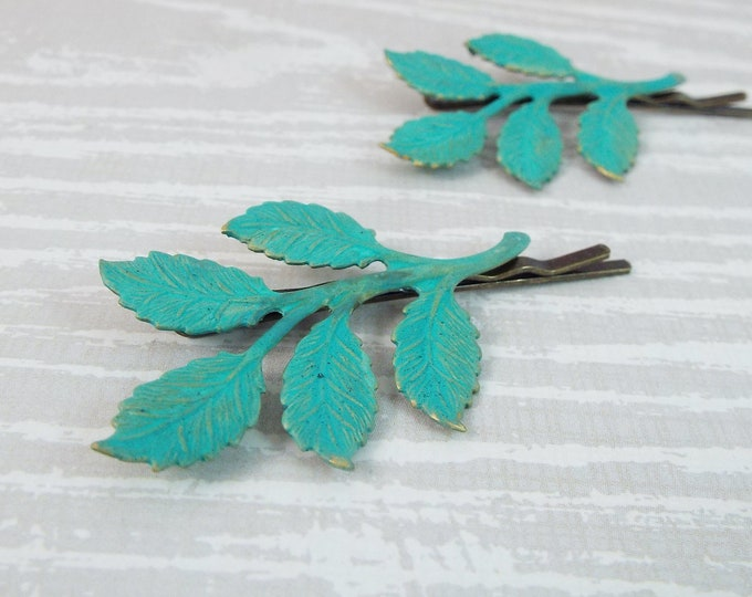 Verdigris Patina Branch Leaves Bridal Hair Bobby Pin Set