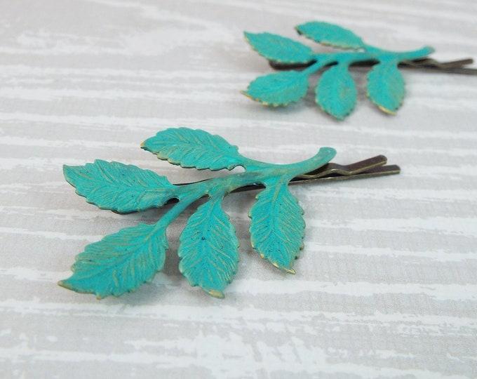 Verdigris Patina Branch Leaves Bridal Hair Bobby Pin Set - Gifts for Bridesmaids Daughter Wife Girlfriend Woodland Wedding Slides Pins