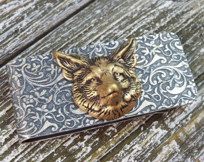 Antique Silver Brass Fox Embossed Money Clip - Men's Accessorries by Split Personality