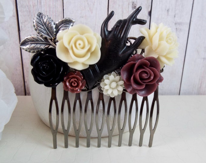 Victorian Lady's Hand Black Silver Gothic Bridal Hair Comb - Silver Champagne Burgundy, Vintage Hair Accessory - He Loves Me