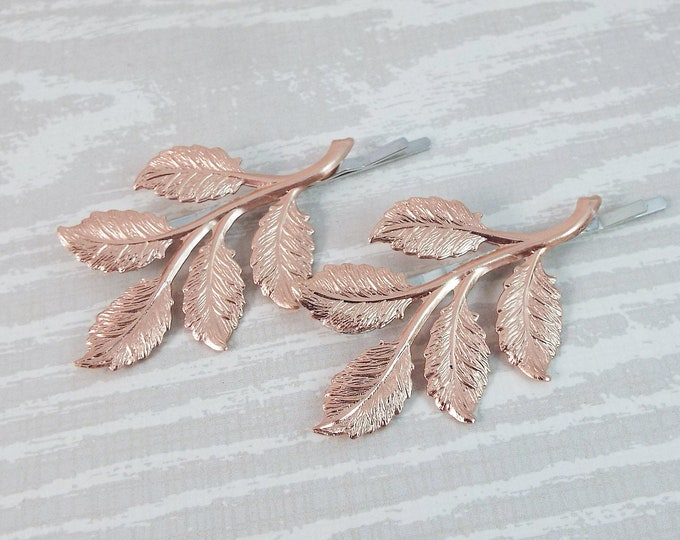 Shiny Rose Gold Branch Leaves Bridal Hair Bobby Pin Set
