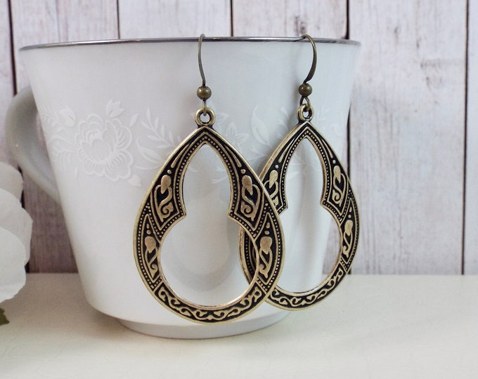 Moroccan Geometric Teardrop Drop Bohemian BOHO Large Dangle Earrings