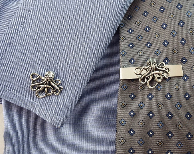 Antique Silver Octopus Cufflinks Tie Bar Clip - Cthulhu - Men's Accessories by Split Personality