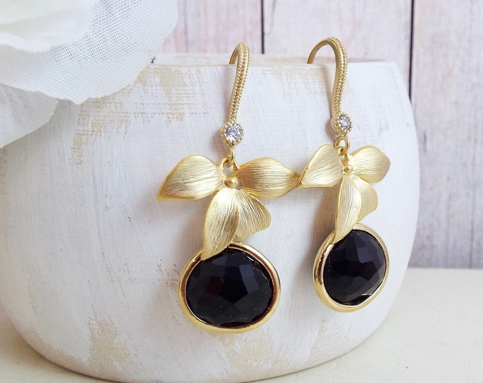 Gold Black Orchid Flower Crystal Glass Bridal Jewelry Leaf Blossom Dangle Earrings Bridesmaids Gift Chandelier Nature Garden