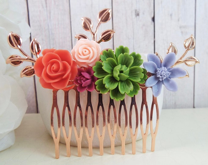 Colorful Rose Gold Floral Spray Hair Comb