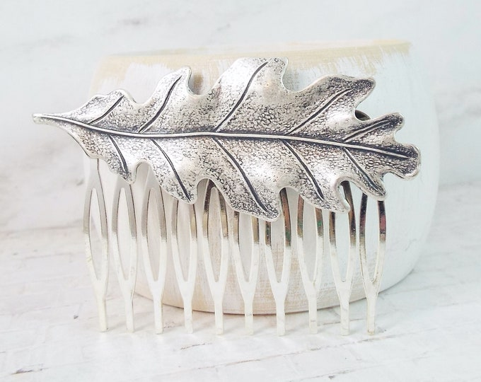 Silver Oak Leaf Design Vintage Wedding Hair Comb