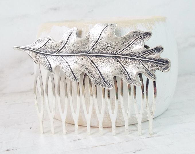 Silver Oak Leaf Design Vintage Wedding Hair Comb