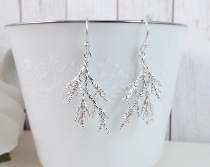 Silver Coniferous Cedar Tree Evergreen Needle Sprig Earrings
