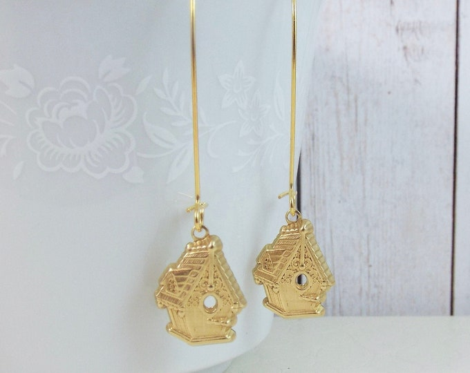 Birdhouse Long Dangle Gold Everyday Earrings