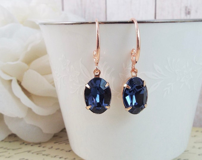 Rose Gold Navy Blue Teardrop Crystal Drop Dangle Earrings