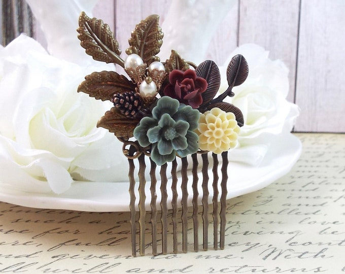 Ivory Pearl Burgundy Grey Floral Rustic Petite Hair Comb - Vintage Hair Accessory - Bridal, Bridesmaids Clip Slide
