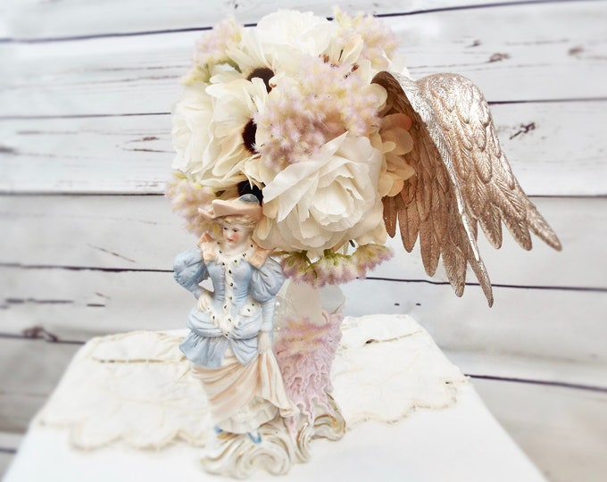 French Country Vintage Victorian Lady Pastel Porcelain Topiary Vase, Rose Gold Shabby Chic Wedding, Flower Floral Home Decor, Angel Nursery