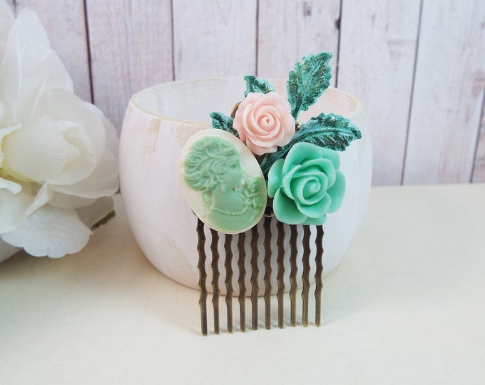 Mint Rose Cameo Blush Pink Patina Flower Bridal Small Hair Comb - Vintage Hair Accessory