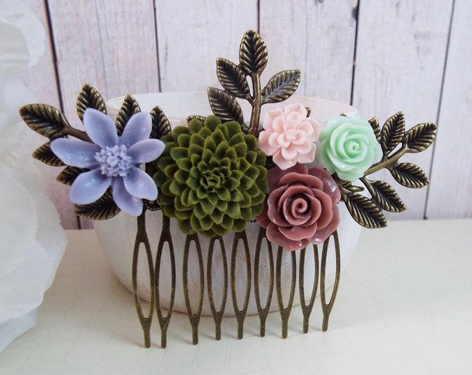 HARMONY Teaberry, Custom Mauve, Olive, Celadon, Periwinkle - Fern Mum Rose Succulent Spray Bridal Comb, Modern Vintage Hair Accessory