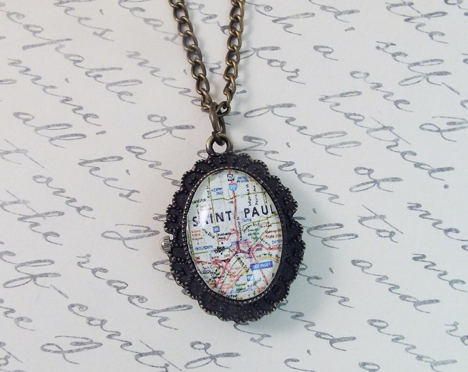 Custom Map or Photo Watch Pendant Necklace - Personalized Jewelry by Split Personality