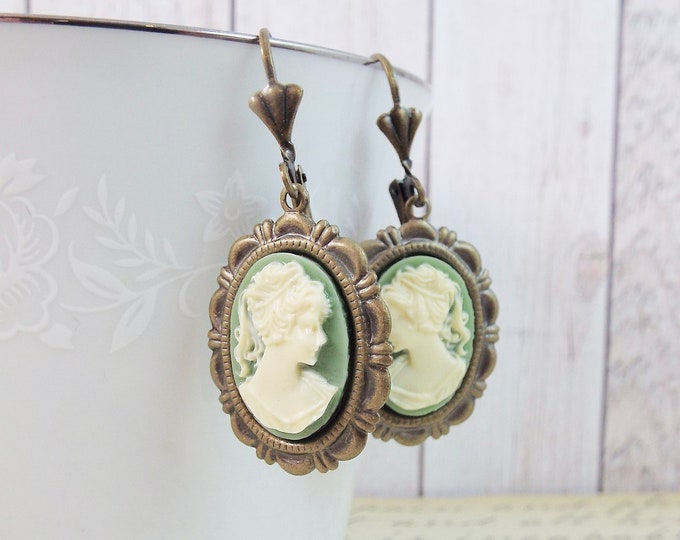 Bronze Sage Green Ivory Grecian Cameo Earrings